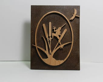 Frog on cattails and Dragonfly Wall Plaque