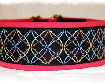 "Dog collar Jacquard ribbon in unique colourful ""pop sport"" style"