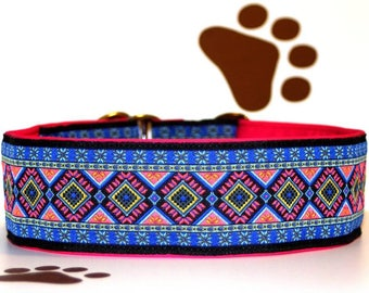 """NEW!Dog collar Jacquard ribbon with absolutely unique colourful ornaments in the most elegant design of """"Sunset"""""""
