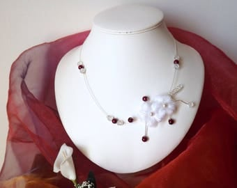 Burgundy necklace and Crystal