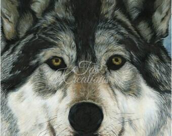 Original Acrylic Wolf Print by Artist Tas Kreations Animal Wildlife Art