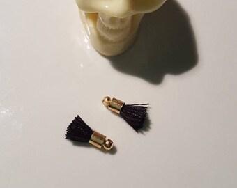 mini 2 x black and gold tassels