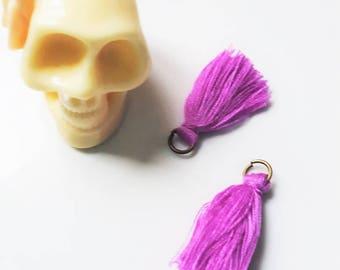 bronze 2 x ring purple tassels