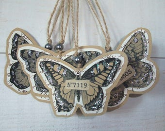 Set of 4 tags glitter butterflies & numbers (No. 9)