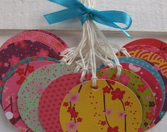 Set of 18 tags Japanese paper (round format) (n ° 3)