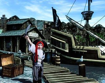 Pirate Backdrop, Digital Background, Digital Backdrop, Pirate Background, Pirate Ship, Boys Party, Jolly Roger, Composite  Photo Background