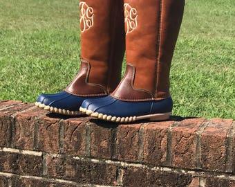 kids girls monogram midcalf duck boots rain boots wellington boots waterproof - Duck Rain Boots