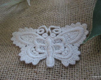 White Butterfly Cotton sewing applique