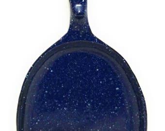 Enameled Cast Iron oval skillet blue speckled