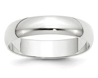 New 10K Solid White Gold 5mm Men's and Women's Wedding Band Ring Sizes 4-14. Solid 10k White Gold, Made in the U.S.A.