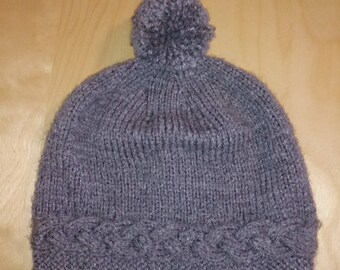 Knitted handmade grey wool hat adult