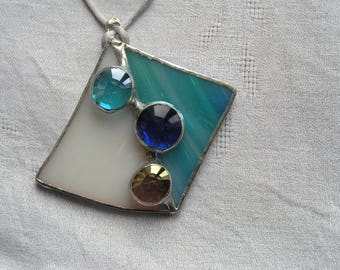 women gift, in shades of blue and white stained glass pendant