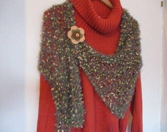 Feather grey, green, salmon, Brown gift woolen scarf mothers day