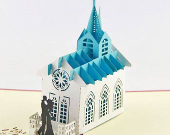Handmade 3D popup pop up church wedding invitation bride groom marriage anniversary Valentines card big day engagement marriage proposal her