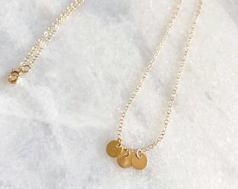 3 Tiny 14k Gold Filled Disc Dainty Necklace