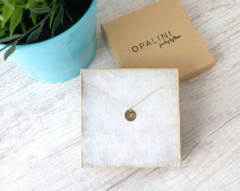 Personalized Initial Necklace, 14k Gold Filled Disc Dainty Necklace