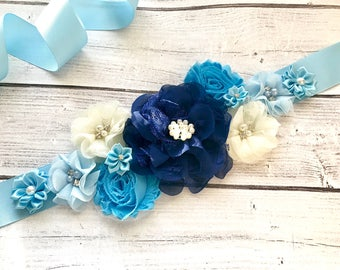 Navy Baby Blue Maternity Sash Daddy to Be Corsage Boy Baby Shower Gender Reveal Party Photo Prop Gift Keepsake