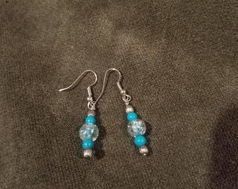Turquoise glass colored hand-wrapped earrings