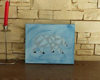 polar bear painted on canvas