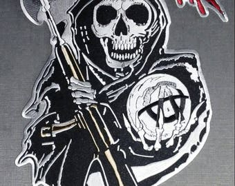"""Sons of Anarchy Grim Reaper Biker Back Patch - XL - 13.5"""" x 9.25"""" - New!!!"""