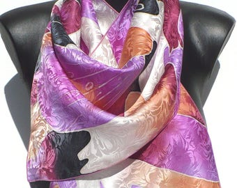 Scarf - silk scarf handpainted - crepe-satin - white, orange, fuchsia
