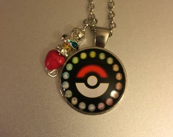 Handmade Poke Ball Necklace with Pendant