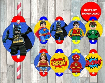 80%OFF Printable Lego Superhero Straw Tags instant download, Lego Batman party Straw Tags, Printable Lego Superman Straw Toppers