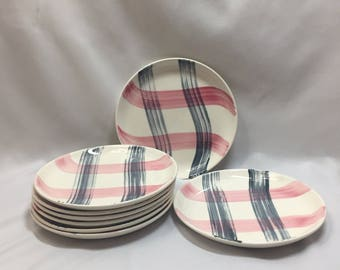 Bread and Butter/ Dessert Plates Stetson Scots Clan Pink and Charcoal Plaid - set of 4