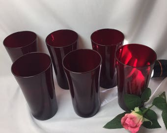 Royal Ruby Red Large Tumblers Drinking Glasses  - set of 6