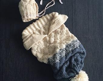 Baby cocoon, newborn wrap with a matching hat / Кокон для новорожденных с шапочкой