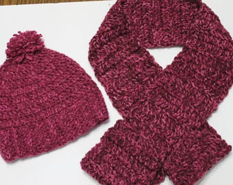 Crochet Scarf & Hat With Pom Pom