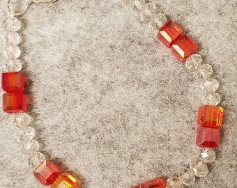 Orange and Clear Austrian Crystal beads bracelet about 8 inches long