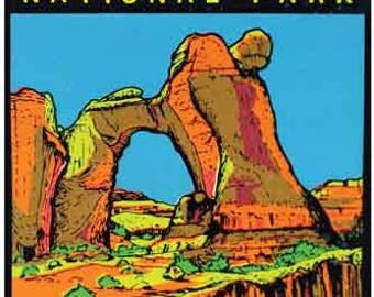 Vintage Style   Angel Arch Utah  Canyonlands National Park  Travel Decal sticker