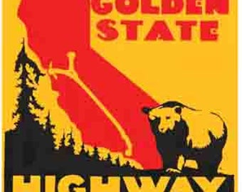 Vintage Style Golden State Highway Sacramento  California     Travel Decal sticker
