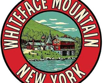 Vintage Style Whiteface Mountain  NY New York  Travel Decal sticker
