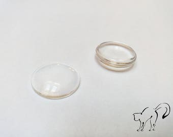 Cabochon glass round 22 x 22 mm set of 2