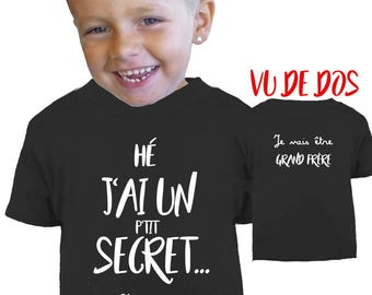 Tee shirt pregnancy announcement (big brother or big sister) double-sided