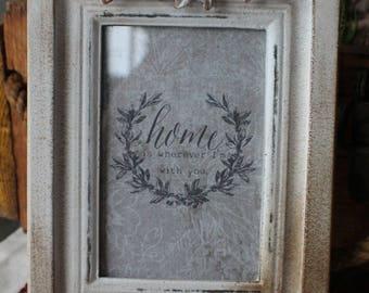 "Cadre décoratif  shabby ""HOME"" / Ornamental shabby frame ""HOME"""
