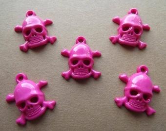 Charm skull rose dark acrylic (x 5)