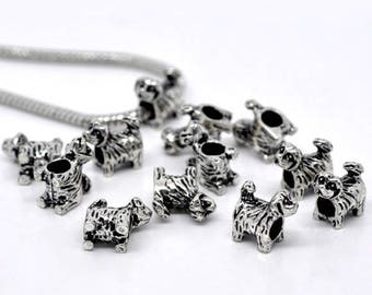 Dog shape (x 4) antique silver metal beads