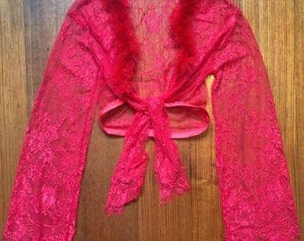Red lace feather tie-up kimono