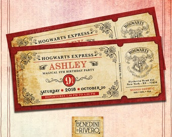 Harry Potter Hogwarts Express Inspired | Personalized Train Ticket Birthday Invitation | Custom Invitation | Plataform 9 3/4