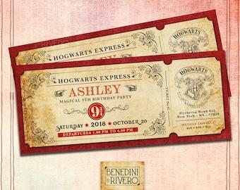 Harry Potter Hogwarts Express Inspired | Personalized Train Ticket Birthday Invitation | Custom Invitation | Plataform 9 3/4