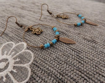 The natural circles earrings blue feather and flower
