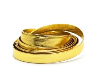 2 m of synthetic leather 10 x 1 mm, gold
