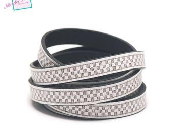 "1 m cord strap split leather 10 x 2 mm ""chessboard"", white"
