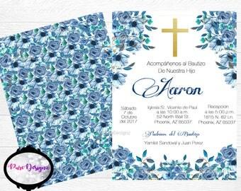 Mi Bautizo Invitations, Bautizo Invitations, Invitaciones Bautizo, Blue Flowers Bautizo Invitations, Boy Bautizo Invitations