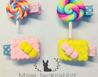 Set of 4 Lollipop and Cookies Hair clips