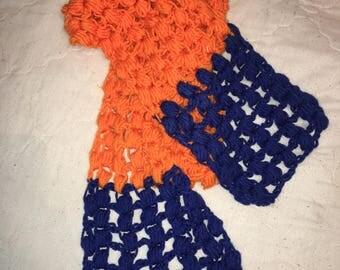 Crochet orange and blue scarf
