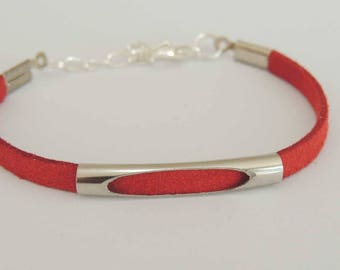 Suede strap suede red color, open metal tube bead
